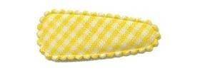 Haarkniphoesje geel-wit geruit 3 cm (ca. 100 stuks)