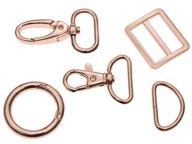 Metalen schuifgesp Rose Goud RECHTHOEKIG 25 mm (10 stuks)