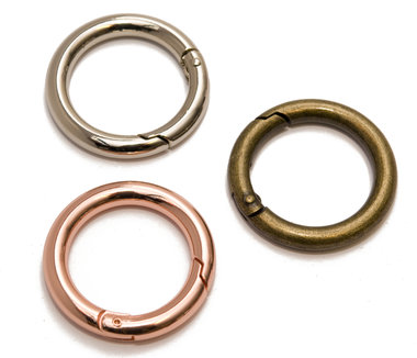 Metalen O-ring met musketonsluiting Rose Goud 25 mm (10 stuks)