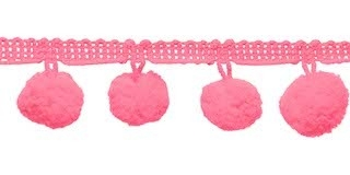 Pompom band roze 20 mm (ca. 16 meter)