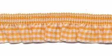 Oranje-wit geruite roezel elastiek 19 mm (ca. 10 meter)