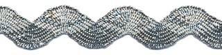Zilverkleurig zig-zag band 9 mm (ca. 25 meter)