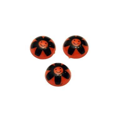 Flatback bolletje met bloemgezichtje oranje-zwart 15 x 6 mm (10 stuks)