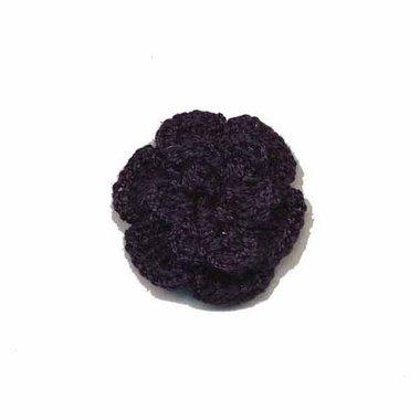 Gehaakt roosje zwart 25 mm (10 stuks)