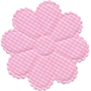 Applicatie geruite bloem roze-wit EXTRA GROOT 75 mm (ca. 100 stuks)