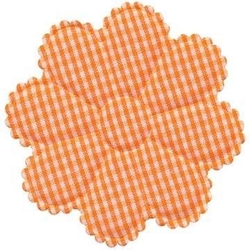 Applicatie geruite bloem oranje-wit EXTRA GROOT 75 mm (ca. 100 stuks)