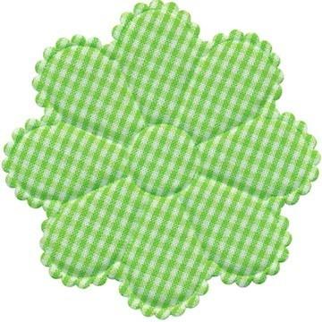 Applicatie geruite bloem groen-wit EXTRA GROOT 75 mm (ca. 100 stuks)