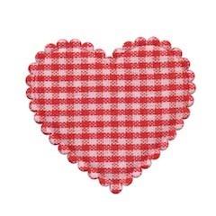 Applicatie geruit hart rood-wit groot 40 x 40 mm (ca. 100 stuks)