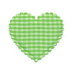 Applicatie geruit hart groen-wit groot 40 x 40 mm (ca. 100 stuks)