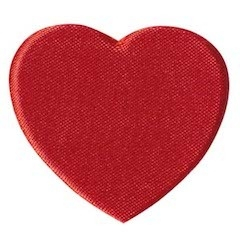 Applicatie hart rood satijn effen groot 45 x 40 mm (ca. 100 stuks)