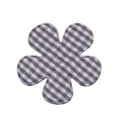 Applicatie geruite bloem grijs-wit middel 35 mm (ca. 100 stuks)