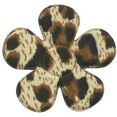 Applicatie bloem met panter print creme/bruin groot 45 mm (ca. 100 stuks)