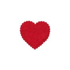 Applicatie hart rood vilt klein 20 x 20 mm (ca. 100 stuks)