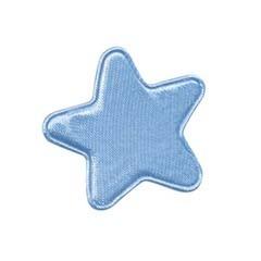 Applicatie ster licht blauw satijn effen middel 30 mm (ca. 100 stuks)