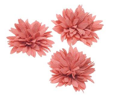 Bloem XL stof chrysant zalm/oud roze ca. 7 cm (5 stuks)