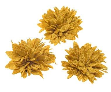 Bloem XL stof chrysant oker ca. 7 cm (5 stuks)