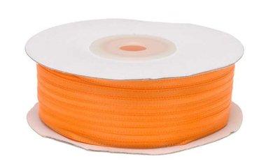 NEON oranje dubbelzijdig satijnband 4 mm (ca. 90 m)