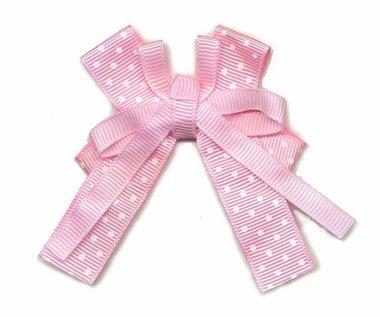 Strik grosgrain polkadot roze dubbel (10 stuks)