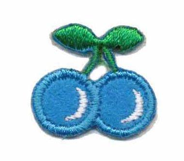 Opstrijkbare applicatie kers blauw klein (5 stuks)