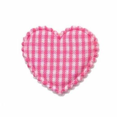 Applicatie ruitjes hart fuchsia middel 35 x 30 mm (ca. 100 stuks)