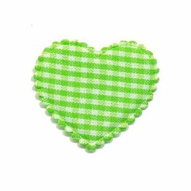 Applicatie ruitjes hart groen middel 35 x 30 mm (ca. 100 stuks)