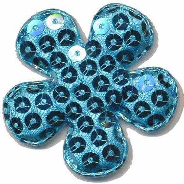Applicatie pailletten bloem blauw groot 50 mm (ca. 100 stuks)