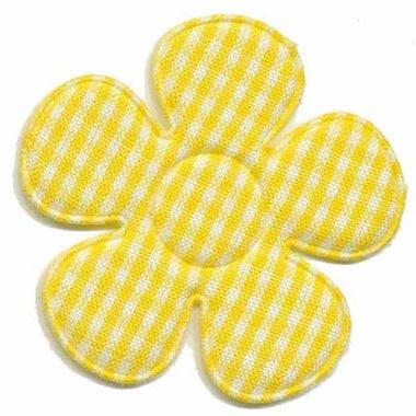 Applicatie ruitjes bloem geel groot 45 mm (ca. 100 stuks)