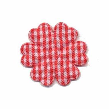 Applicatie geruite bloem rood-wit middel 30 mm (ca. 100 stuks)