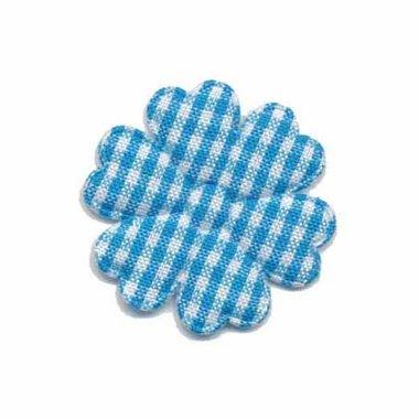 Applicatie geruite bloem aqua-wit middel 30 mm (ca. 100 stuks)