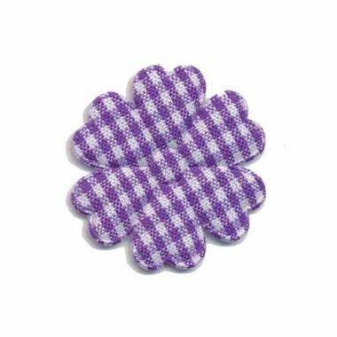 Applicatie geruite bloem paars-wit middel 30 mm (ca. 100 stuks)