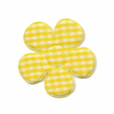 Applicatie geruite bloem geel-wit middel 35 mm (ca. 100 stuks)