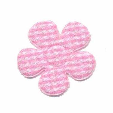 Applicatie geruite bloem roze-wit middel 35 mm (ca. 100 stuks)