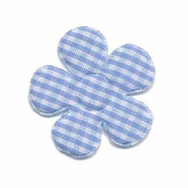 Applicatie geruite bloem licht blauw-wit middel 35 mm (ca. 100 stuks)