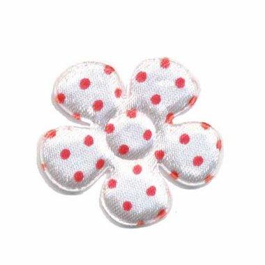Applicatie bloem wit met rode stippen satijn middel 35 mm (ca. 100 stuks)