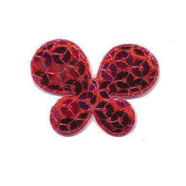 Applicatie vlinder met pailletten fuchsia 35 x 25 mm (10 stuks)