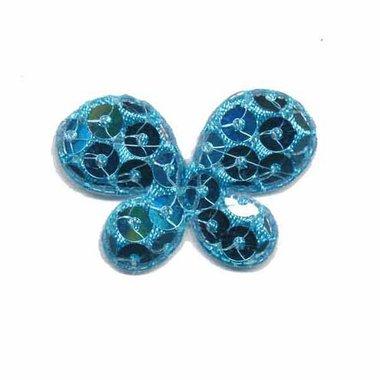 Applicatie vlinder met pailletten blauw 35 x 25 mm (10 stuks)
