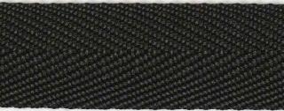 Zwart KATOENEN keperband 25 mm (ca. 50 m)