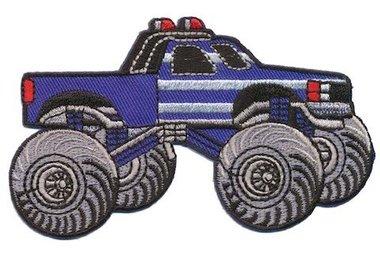 Opstrijkbare applicatie Monster truck blauw (5 stuks)