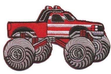 Opstrijkbare applicatie Monster truck rood (5 stuks)