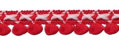 2-kleurig lusjesband rood-gebroken wit 15 mm (ca. 16 meter)