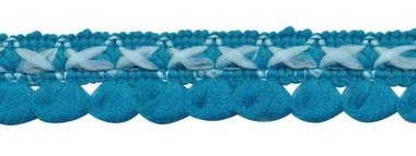 2-kleurig lusjesband petrol-licht blauw 15 mm (ca. 16 meter)
