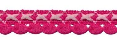 2-kleurig lusjesband fuchsia-licht roze 15 mm (ca. 16 meter)