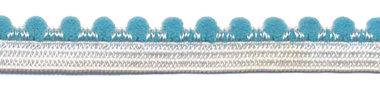 Wit-petrol elastiek met bolletjes sierrand 12 mm (ca. 10 meter)