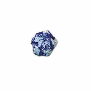 Roosje geruit donker blauw-wit 15 mm (ca. 25 stuks)