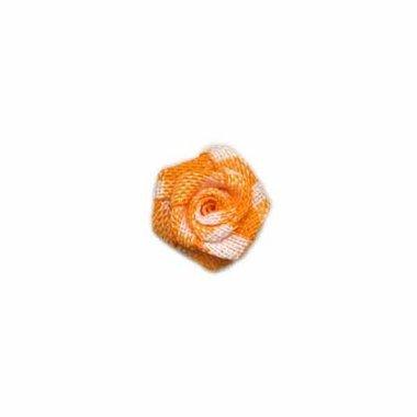 Roosje geruit oranje-wit 15 mm (ca. 25 stuks)