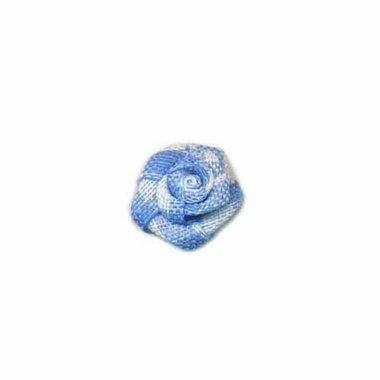 Roosje geruit licht blauw-wit 15 mm (ca. 25 stuks)