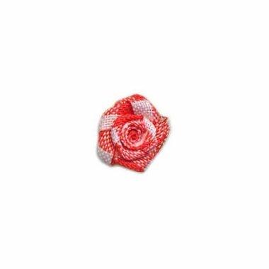 Roosje geruit rood-wit 15 mm (ca. 25 stuks)