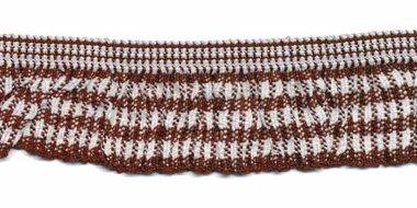Bruin-wit geruite roezel elastiek 19 mm (ca. 10 meter)
