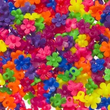 Kralen/bedels bloemetjes mix NEON kleuren 10 mm (ca. 500 stuks)