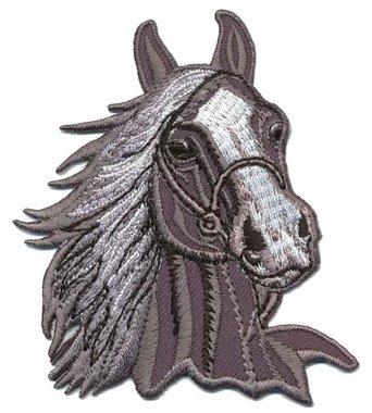 Opstrijkbare applicatie paardenhoofd grijs (5 stuks)